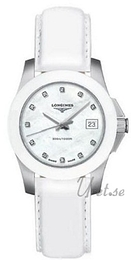 Longines Conquest Ladies Hvid/Læder Ø29 mm L3.257.4.87.2