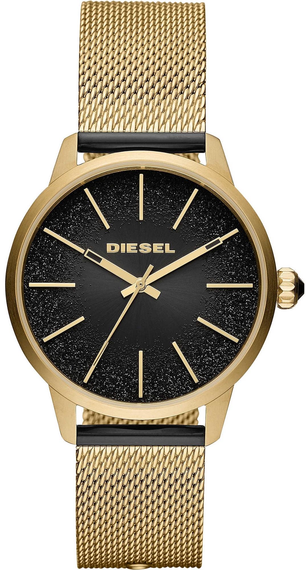 Diesel Castilia Dameur DZ5576 Sort/Gul guldtonet stål Ø44 mm