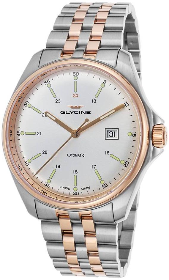 Glycine Combat Herreur GL0104 Sølvfarvet/Rosaguldtonet stål Ø43 mm