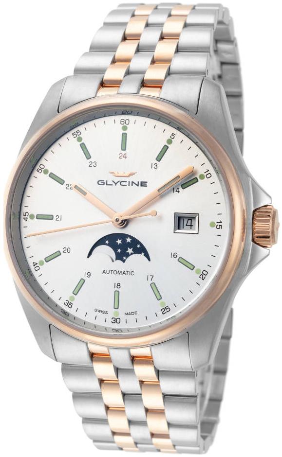 Glycine Combat Herreur GL0192 Sølvfarvet/Rosaguldtonet stål Ø40 mm