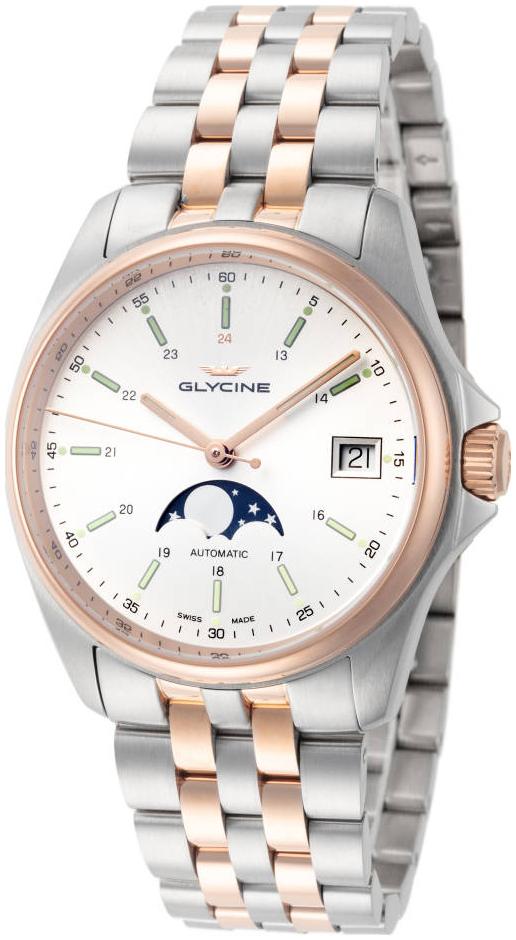 Glycine Combat Herreur GL0194 Sølvfarvet/Rosaguldtonet stål Ø36 mm