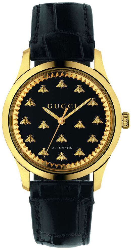 Gucci G-Timeless YA1264120 Sort/Læder Ø38 mm