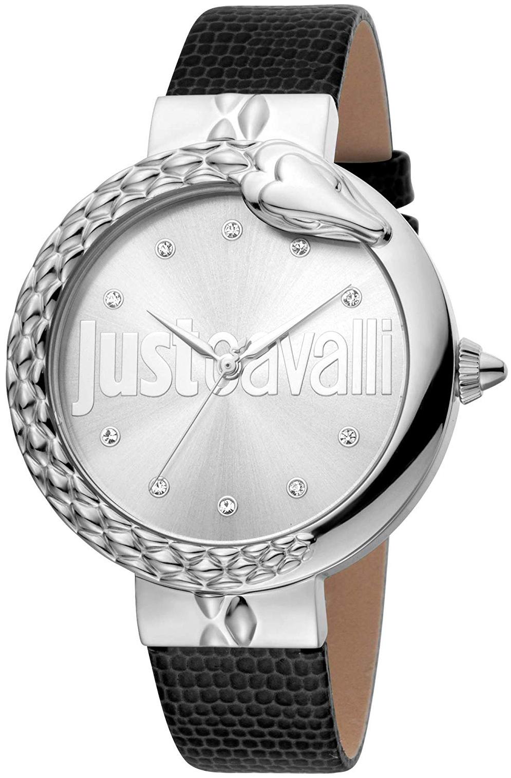 Just Cavalli 99999 Dameur JC1L096L0015 Sølvfarvet/Læder Ø40 mm