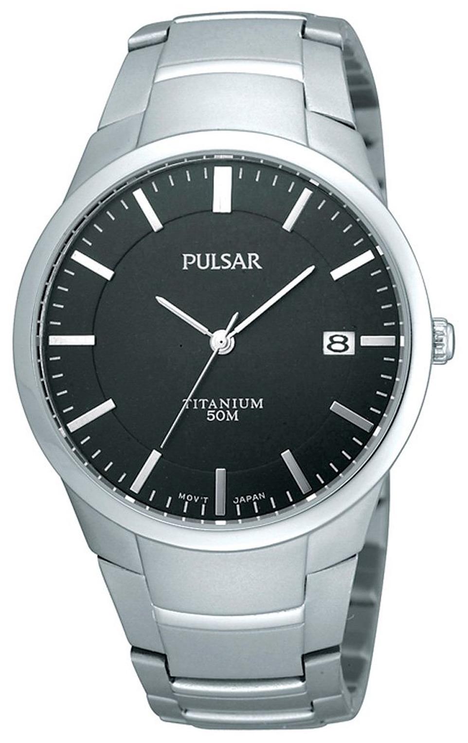 Pulsar Dress Herreur PS9013X1 Sort/Titanium Ø36 mm