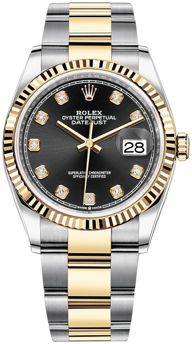 Rolex Datejust 36 Dameur 126233-0022 Sort/18 karat guld Ø36 mm