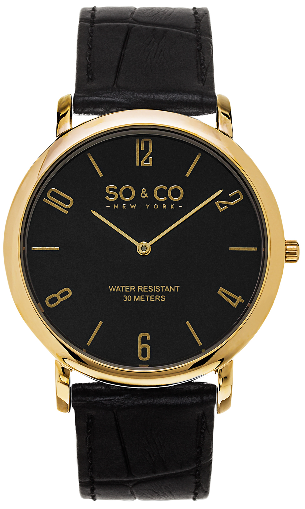 So & Co New York Madison Herreur 5043.3 Sort/Læder Ø39 mm