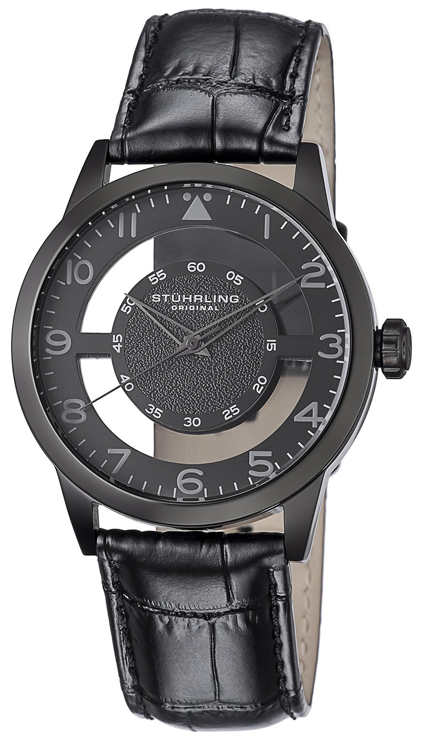 Stührling Original Aviator Herreur 650.04 Sort/Læder Ø42 mm