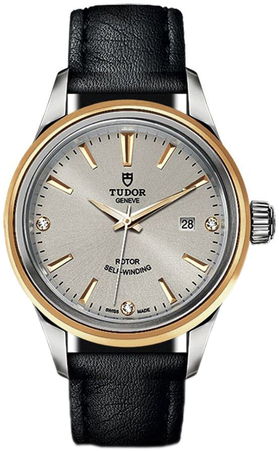 Tudor Style Dameur 12103-0011 Sølvfarvet/Læder Ø28 mm