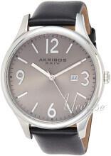 Akribos XXIV Sølvfarvet/Læder