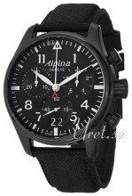 Alpina Startimer Sort/Læder Ø44 mm
