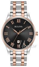 Bulova Bracelet Sort/Rosaguldtonet stål Ø40 mm