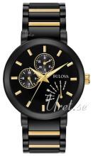 Bulova Bracelet Sort/Gul guldtonet stål Ø45 mm