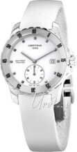 Certina DS First Lady Ceramic Small Second Hvid/Gummi Ø34.8 mm
