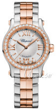 Chopard Happy Sport 30 MM Automatic Sølvfarvet/18 karat rosa gul