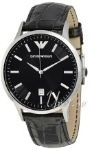 Emporio Armani Mens Sort/Læder Ø43 mm