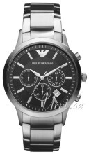 Emporio Armani Mens Sort/Stål Ø43 mm