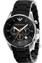 Emporio Armani Mens Sort/Gummi Ø43 mm
