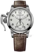 Graham Chronofighter Sølvfarvet/Læder Ø42 mm