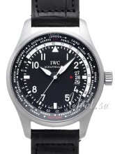 IWC Pilots Worldtimer Sort/Læder Ø45 mm