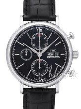 IWC Portofino Chronograph Sort/Læder Ø42 mm
