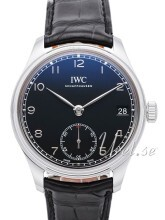 IWC Portuguese Hand-Wound Eight Days Sort/Læder Ø43 mm