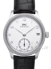 IWC Portuguese Hand-Wound Eight Days Hvid/Læder Ø43 mm