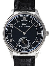 IWC Vintage Collection Portuguese Hand-Wound Sort/Læder Ø44 mm