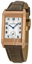 Jaeger LeCoultre Reverso Grande Taille Pink Gold Sølvfarvet/Læde
