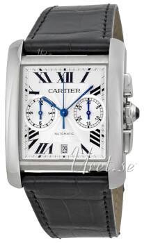 Cartier Tank MC Sølvfarvet/Læder