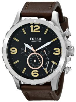 Fossil Sort/Læder Ø50 mm