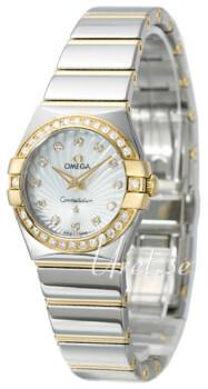 Omega Constellation Quartz 24mm Hvid/18 karat guld