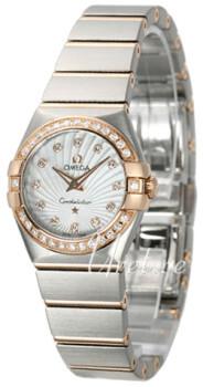 Omega Constellation Quartz 24mm Hvid/18 karat rosa guld