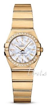 Omega Constellation Brushed Quartz Hvid/18 karat guld Ø24 mm