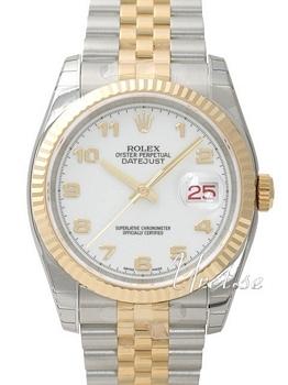 Rolex Datejust Gold/Steel Hvid/18 karat guld Ø36 mm