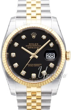 Rolex Datejust Gold/Steel Sort/18 karat guld Ø36 mm