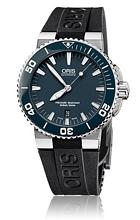 Oris Divers Aquis Date Blå/Gummi Ø43 mm
