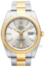 Rolex Datejust41 Sølvfarvet/18 karat guld Ø41 mm