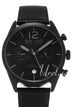 So & Co New York Monticello Sort/Læder Ø42 mm