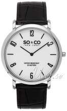 So & Co New York Madison Hvid/Læder Ø39 mm