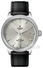 Tudor Style Sølvfarvet/Læder Ø38 mm